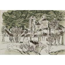 redondela, pueblo, litografia
