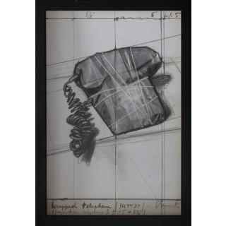 christo, wrapped telephone, litografía, tecnica mixta