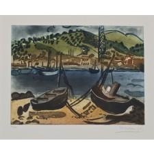 menchu gal, barcas, grabado