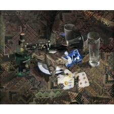 rolando campos, óleo, collage, bodegón con peces